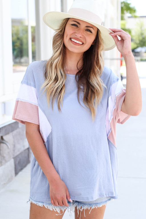 Model wearing Blue Oversized Color Block Tee Front View