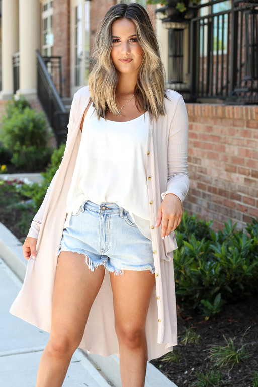 Model wearing Taupe Ribbed Button Up Longline Cardigan