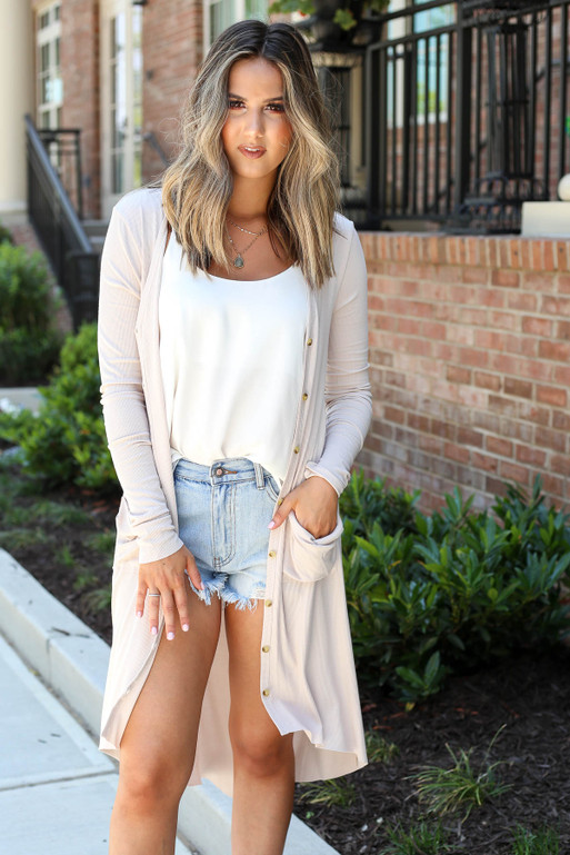 Taupe - Ribbed Button Up Longline Cardigan