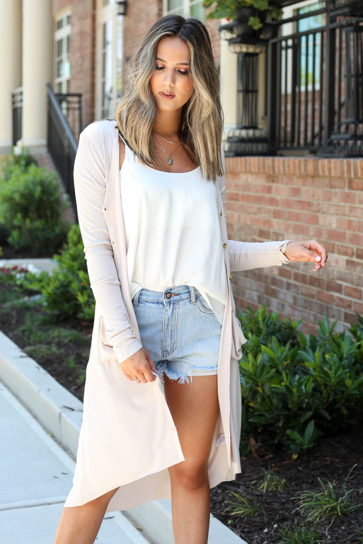 Model wearing Taupe Ribbed Button Up Longline Cardigan Front View