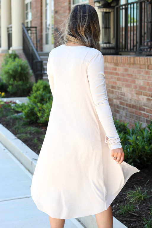 Model wearing Taupe Ribbed Button Up Longline Cardigan Back View