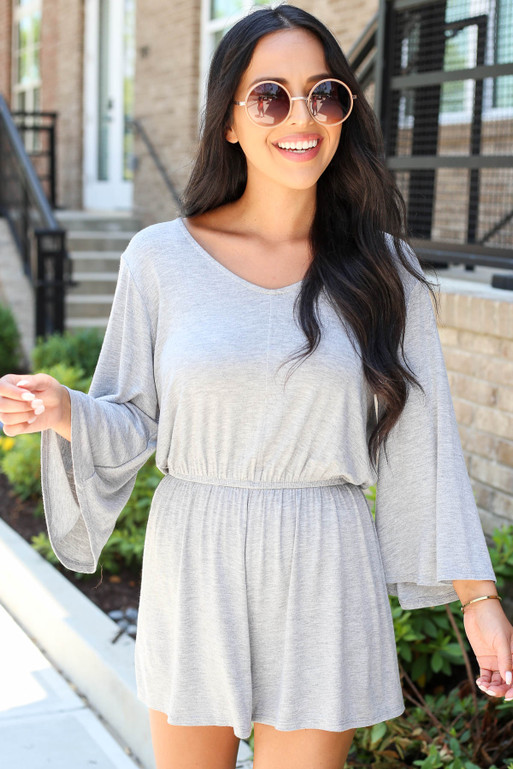 Model wearing Grey Soft Knit Wide Sleeve Romper