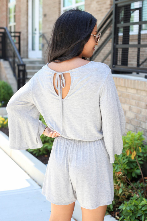 Grey - Soft Knit Wide Sleeve Romper Back View