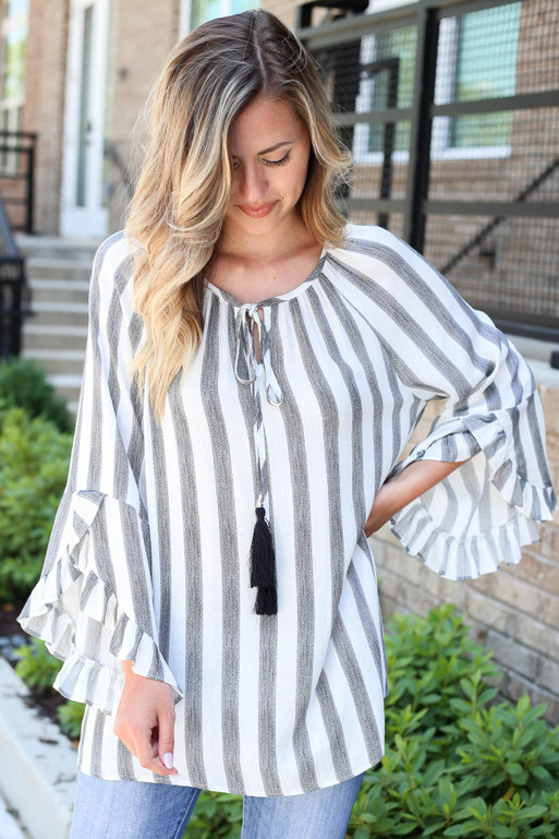 Black - Striped Ruffle Sleeve Tassel Top