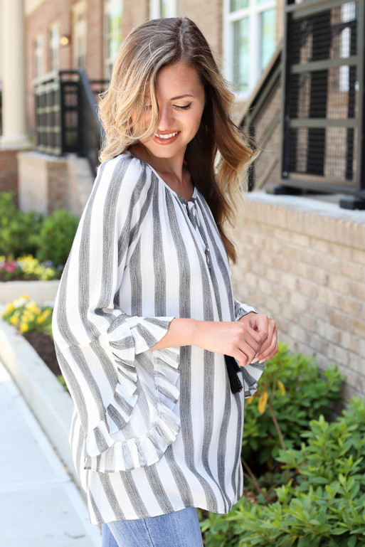 Black - Striped Ruffle Sleeve Tassel Top Side View