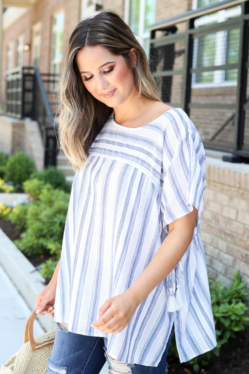 Navy - Striped Tassel Top Side View
