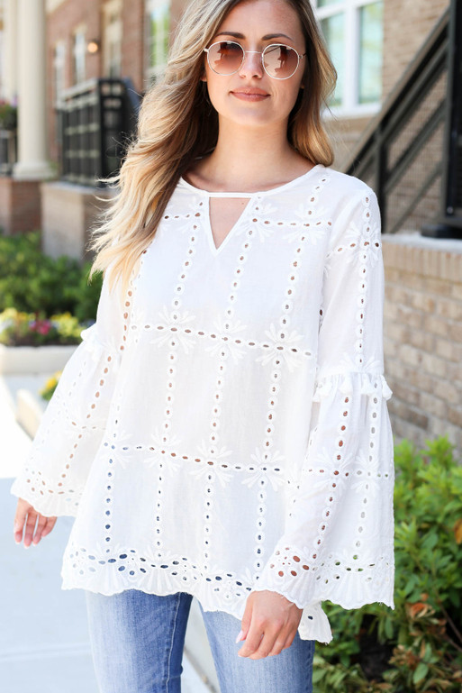 Model wearing White Eyelet Bell Sleeve Blouse Front View