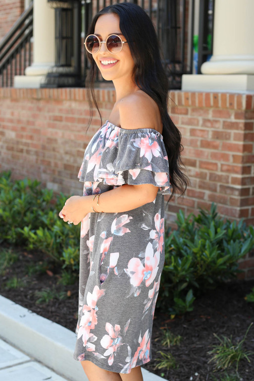 Model wearing Charcoal Off the Shoulder Floral Mini Dress Front View