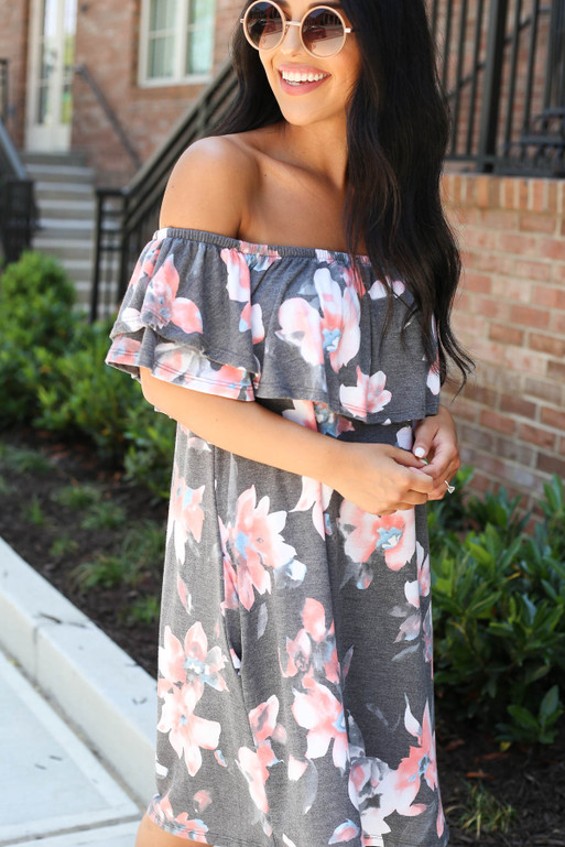 Model wearing Charcoal Off the Shoulder Floral Mini Dress Detail View