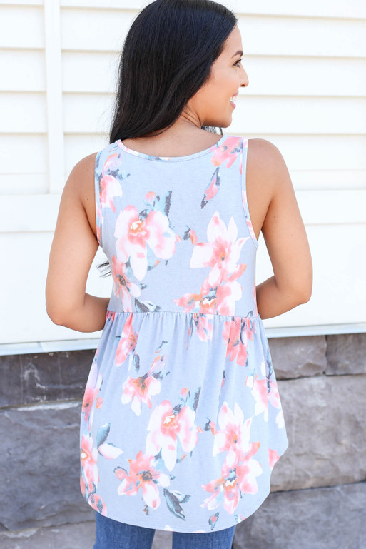 Model wearing Blue Floral Babydoll Tank Back View