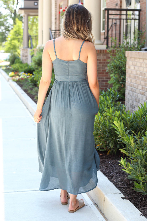 Model wearing Teal Tie-Front Midi Dress Back View
