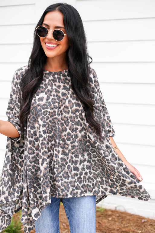 Leopard - Leopard Print Oversized Knit Top
