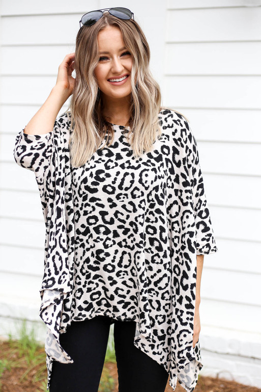 Leopard - Printed Oversized Top