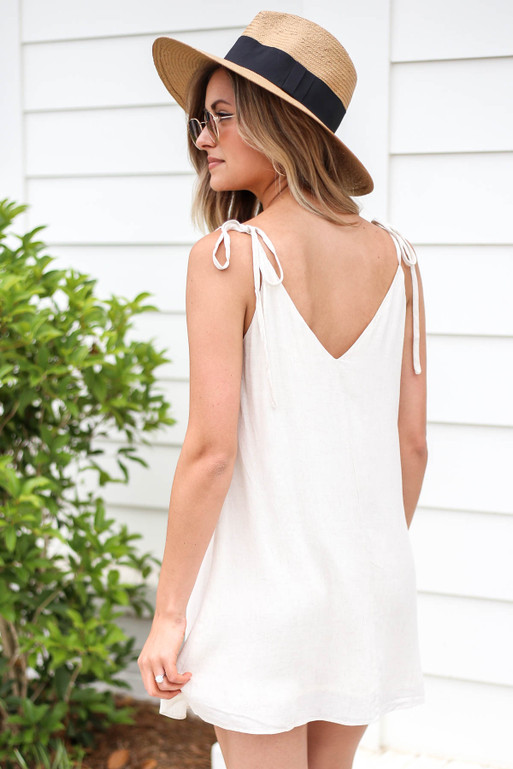 MoModel wearing Ivory Button Front Swing Dress Back View