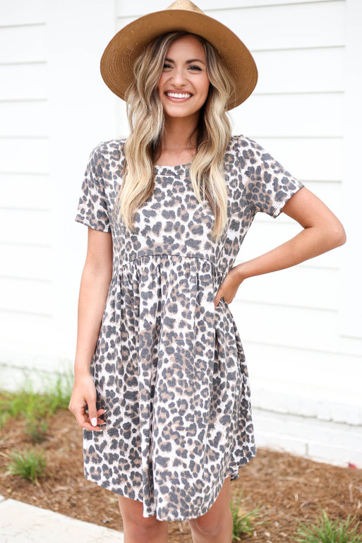 Leopard - Soft Knit Babydoll Mini Dress