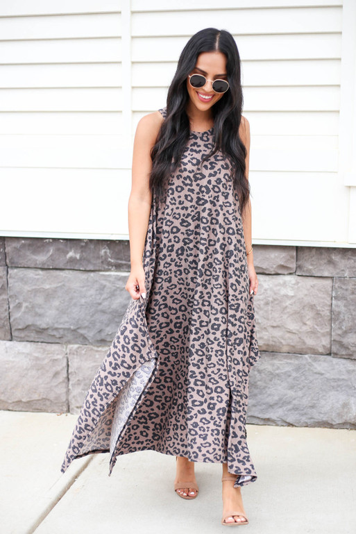 Model wearing Brown Leopard Print Sleeveless Maxi Dress