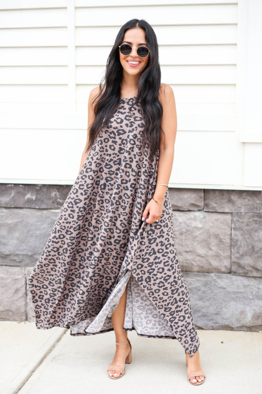 Brown - Flowy Leopard Print Cotton Maxi Dress