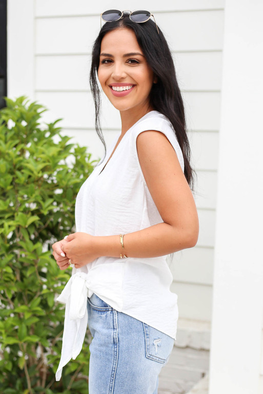 Model wearing White Tie Front Cross Over Sleeveless Blouse Side View