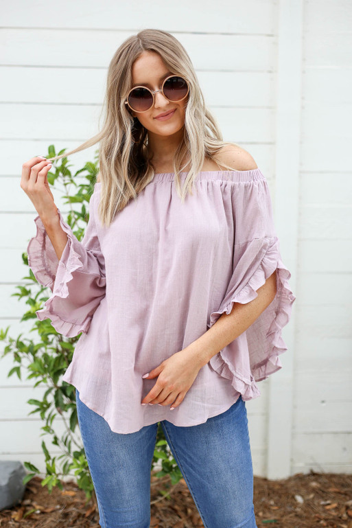 Mauve - Off the Shoulder Ruffle Sleeve Top Full View
