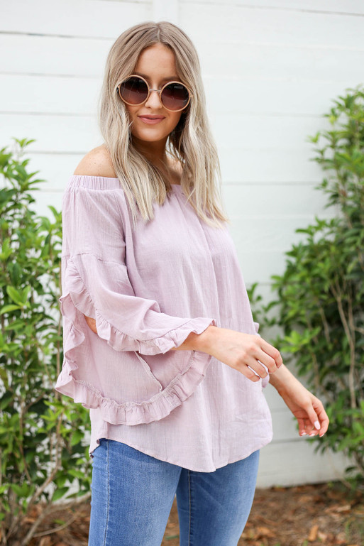 Mauve - Off the Shoulder Ruffle Sleeve Top Side View