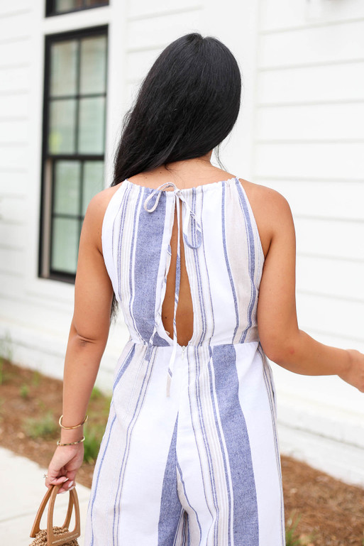 Model wearing Taupe Cropped Striped Jumpsuit Back Detail View
