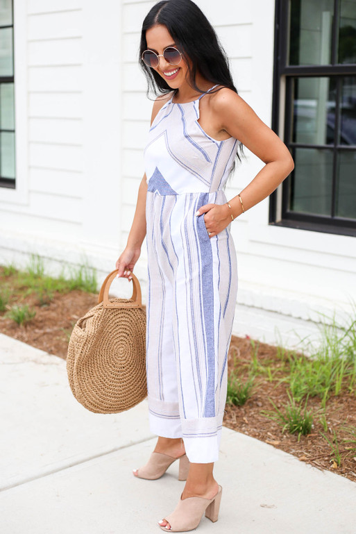Model wearing Taupe Cropped Striped Jumpsuit Side View