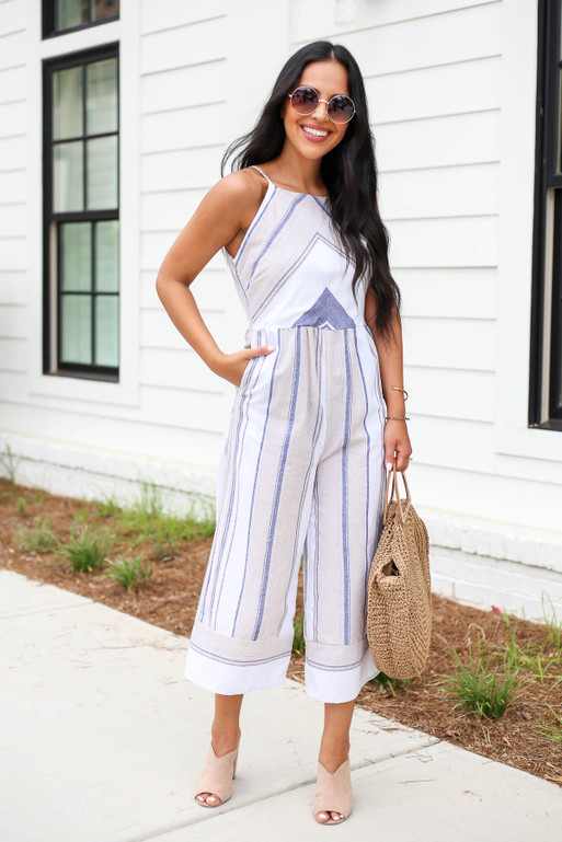 Model wearing Taupe Cropped Striped Jumpsuit