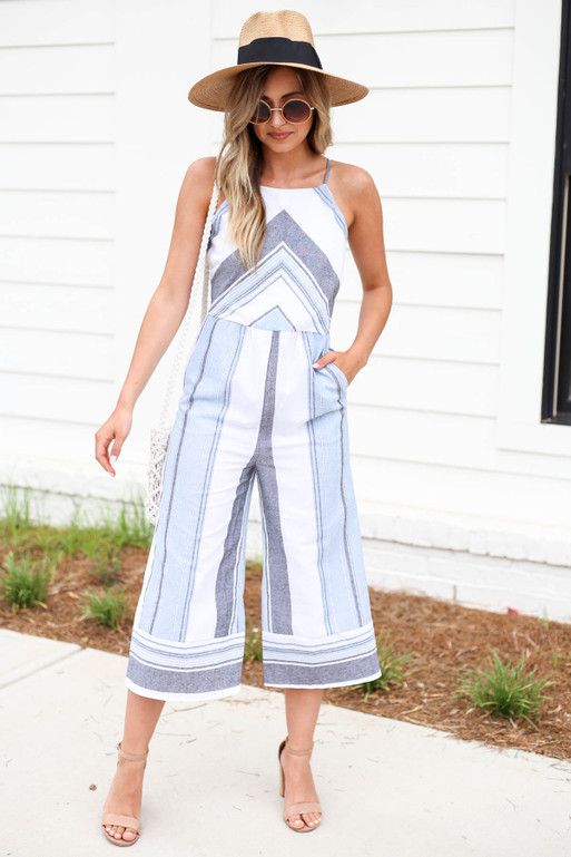 Blue - Striped Cropped Jumpsuit