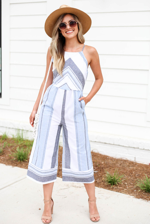 Model wearing Blue Cropped Striped Jumpsuit Front View