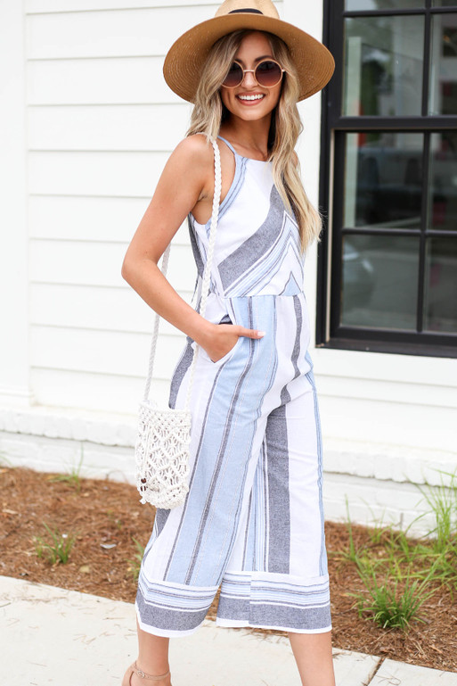 Model wearing Blue Cropped Striped Jumpsuit Side View