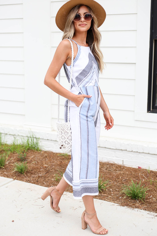 Blue - Striped Cropped Jumpsuit Side View