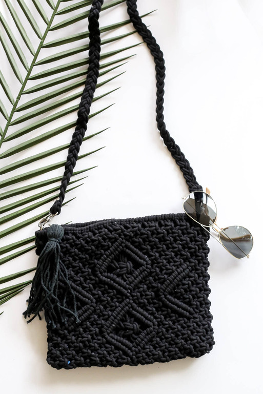 Black - Crochet Macrame Crossbody