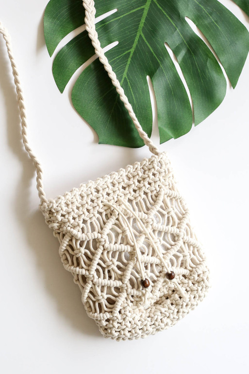 White - Crochet Macrame Shoulder Bag Detail View