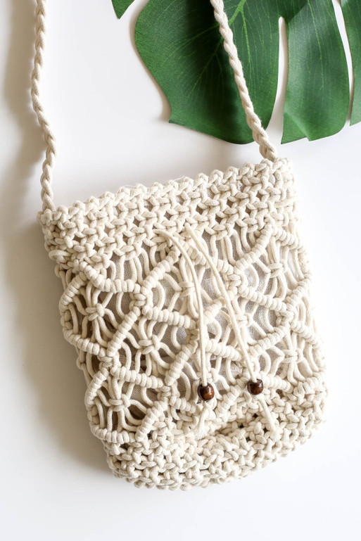 White Crochet Crossbody Flat Lay