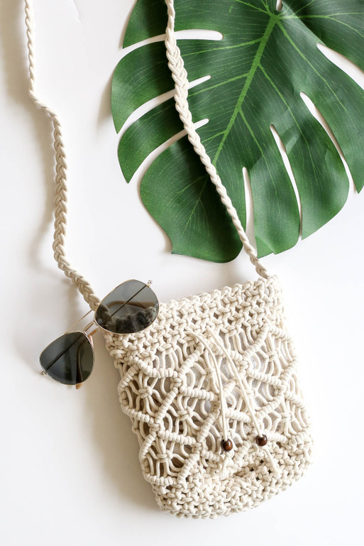 White - Crochet Macrame Shoulder Bag