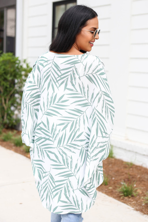 Model wearing White and Green Leaf Print Kimono Back View