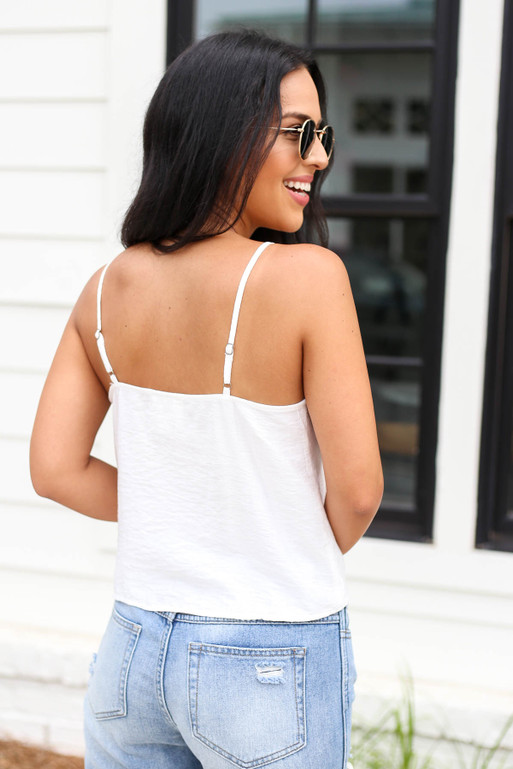 Model wearing White Button Up Tie Front Tank Top Back View