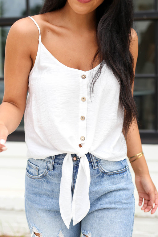 White - Button Up Tie Front Tank Top Detail View