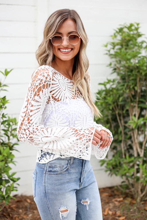 White - Crochet Top Side View
