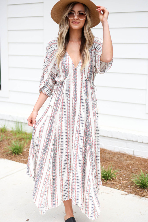 Model wearing Ivory Boho Print 3/4 Sleeve Maxi Front View