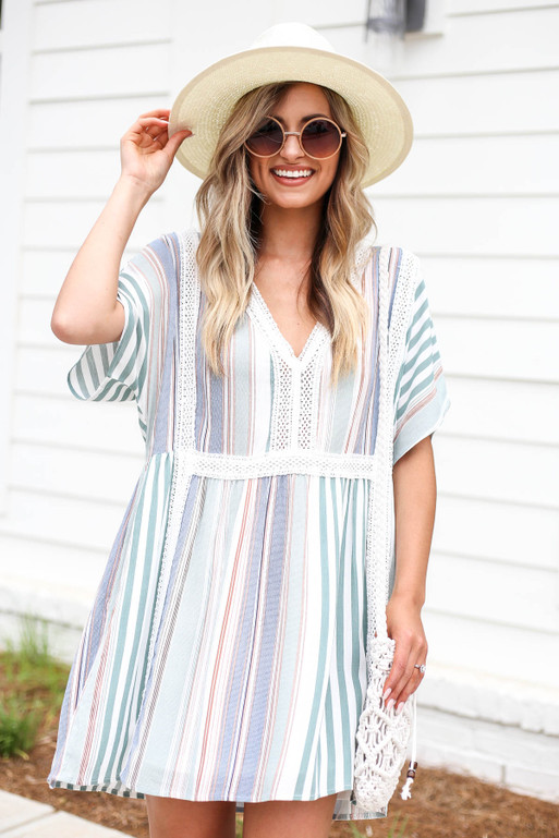 Model wearing Multi Striped Min Dress with Crochet Details Front View