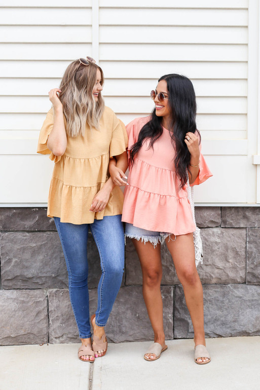 Coral - And Mustard Tiered Blouses