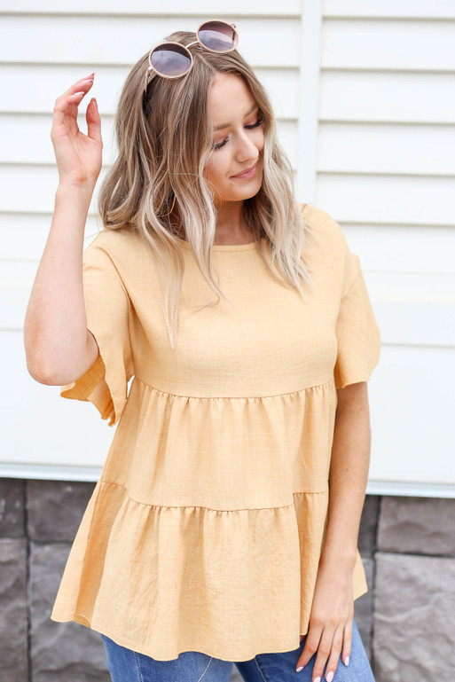 Mustard - Tiered Blouse