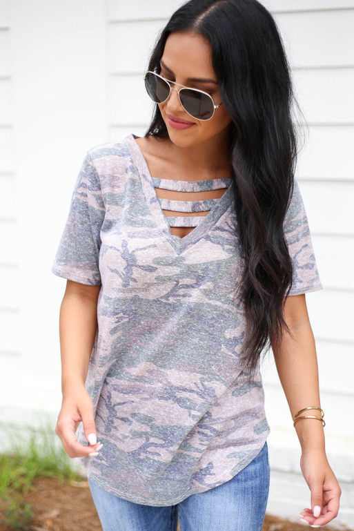 Model wearing Taupe Camo Cut Out Tee Front View