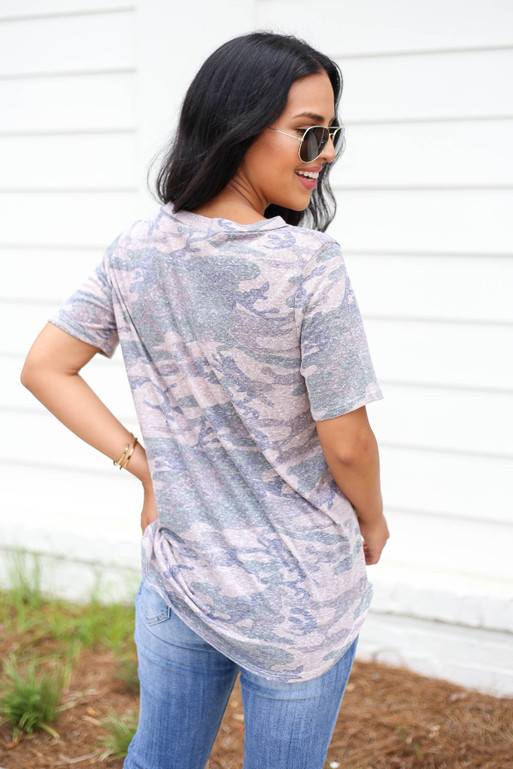Model wearing Taupe Camo Cut Out Tee Back View