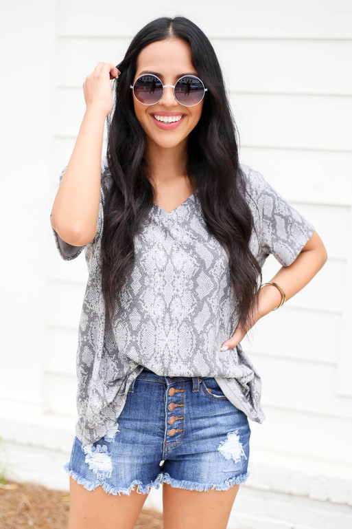 Heather Grey - Snakeskin V-Neck Tee Tucked In