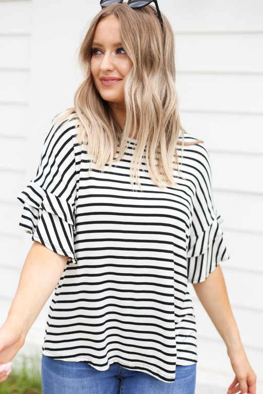 White - Striped Ruffle Sleeve Tee Side View