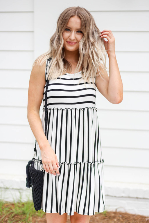 White - and Black Striped Tiered Dress