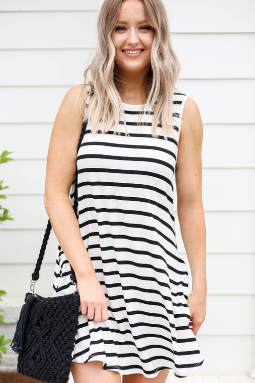 White Striped Button Back Dress Front View