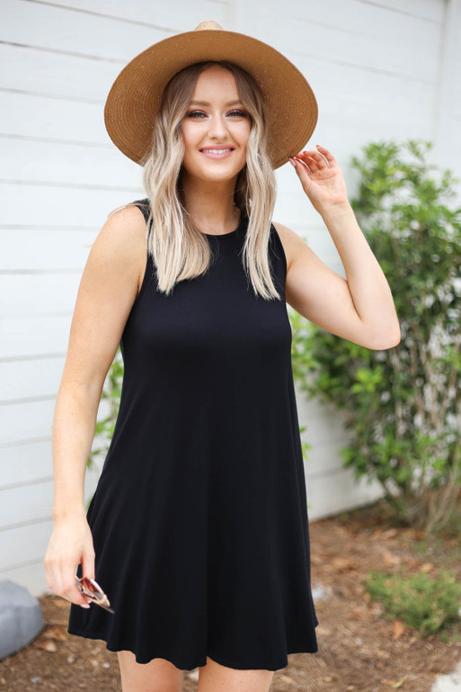 Black - Sleeveless Button Back Dress